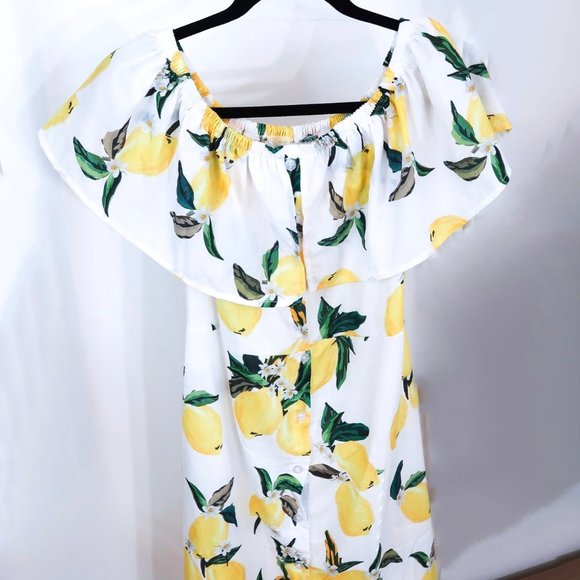 Lemon Print Off-The-Shoulder Ruffle Summer Dress